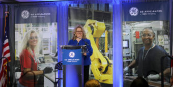 plant manager speaking at GE appliances expansion grand opening