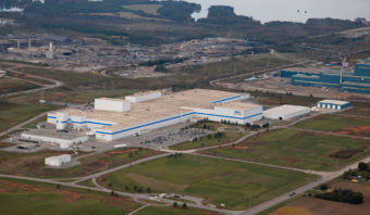 overhead view of manufacturing facility